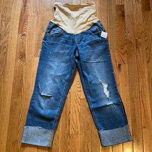 Indigo Blue Distressed Cropped Jeans Full Panel